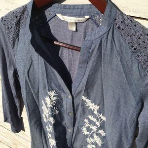 Lauren Conrad Blue Embroidered Button Down Blouse